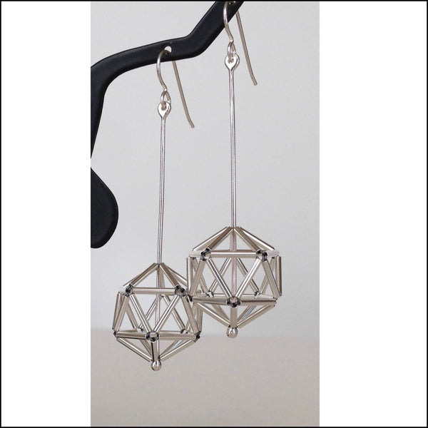 woven icosahedron earrings