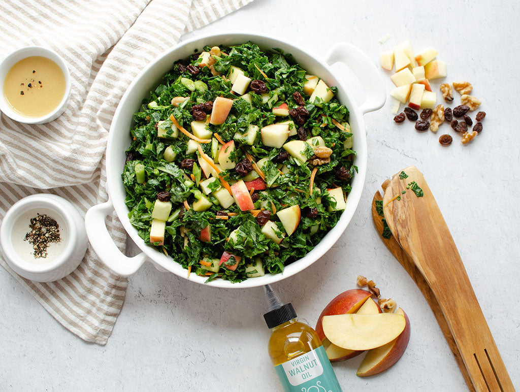 Kale and Apple Salad with Octonuts Walnut Oil Vinaigrette