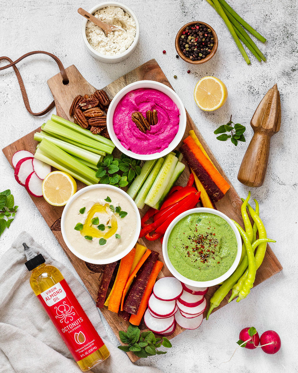 Plain, Beet and Spinach Almond Oil Hummus