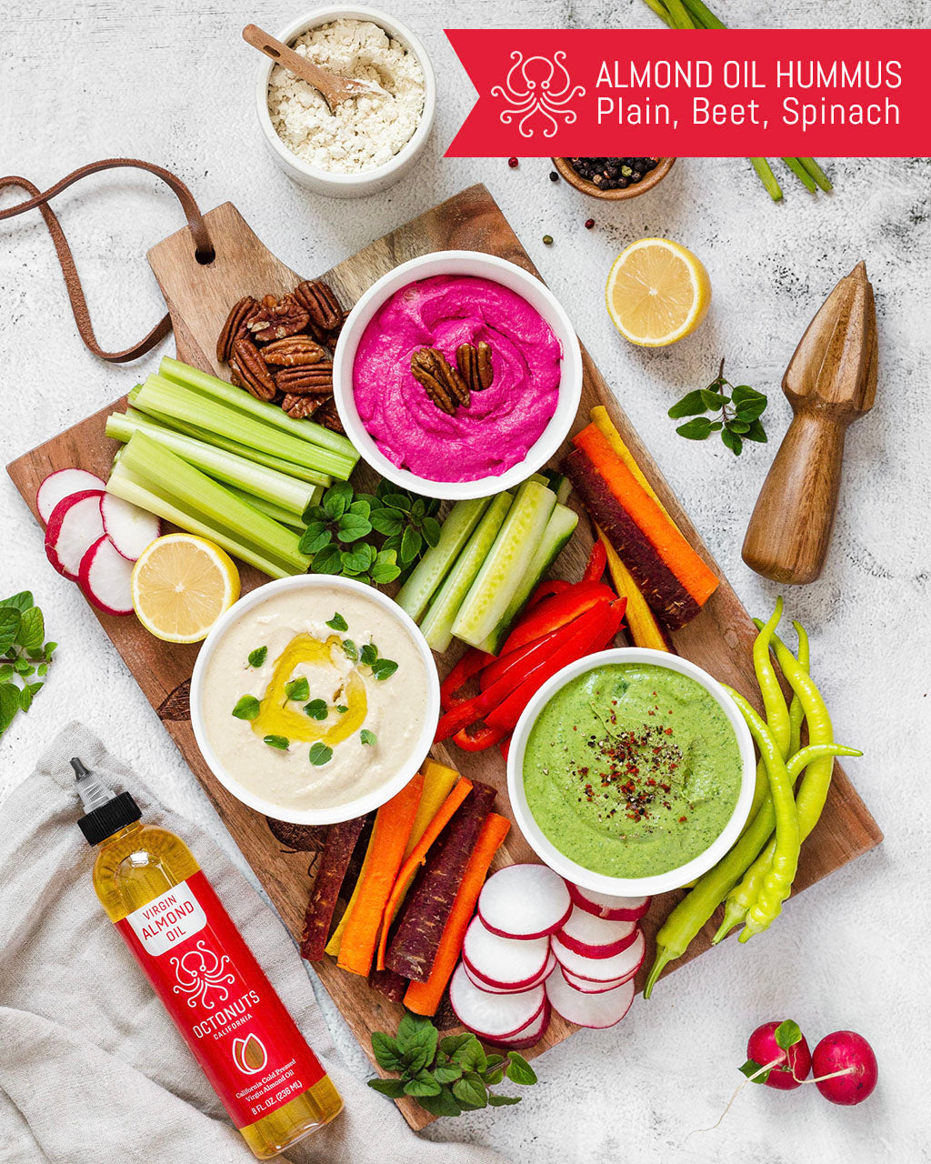 Octonuts Almond Oil Hummus 3 Ways: Plain, Beet and Spinach