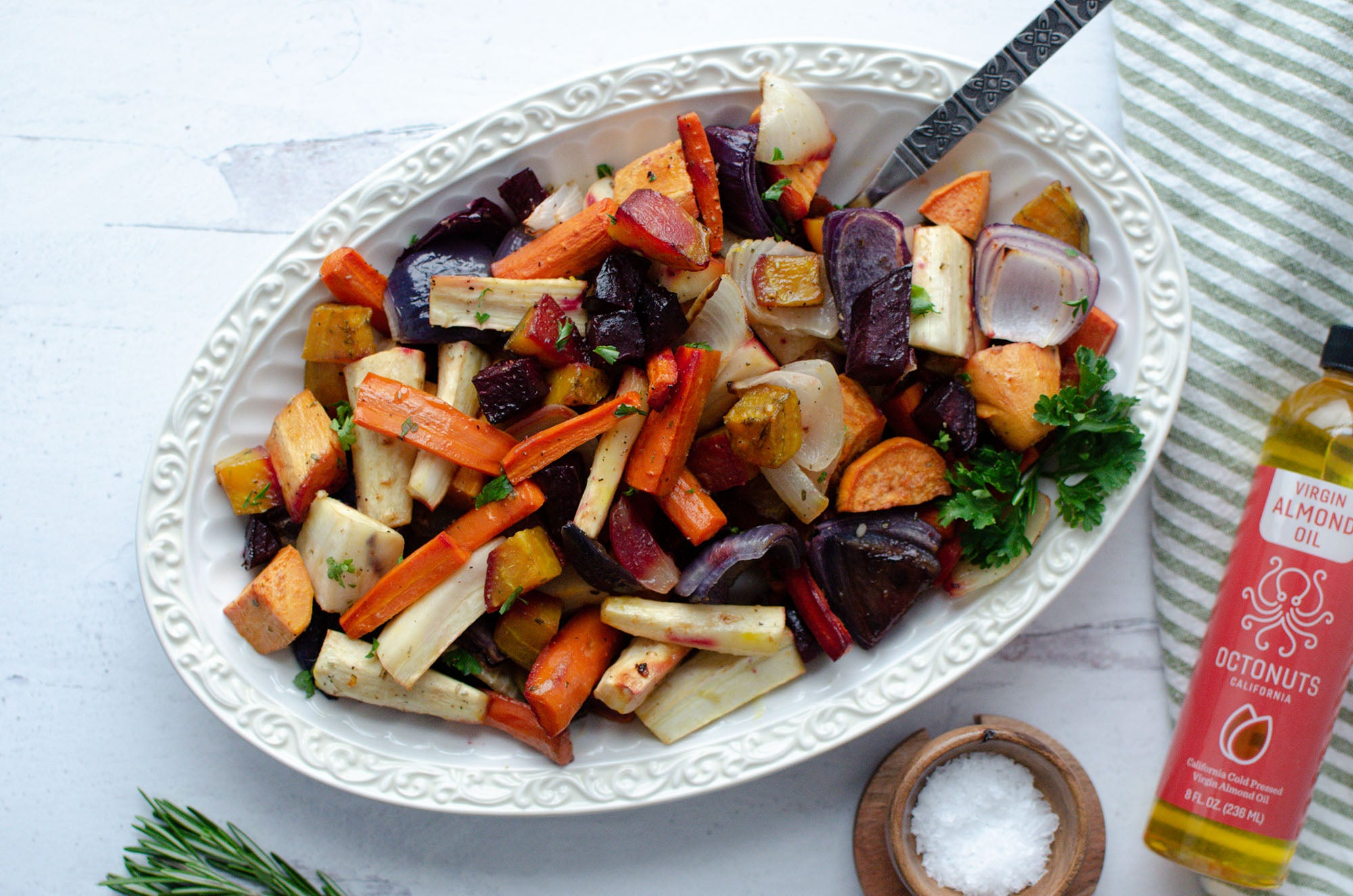 Roasted Root Vegetables featuring Octonuts Almond Oil