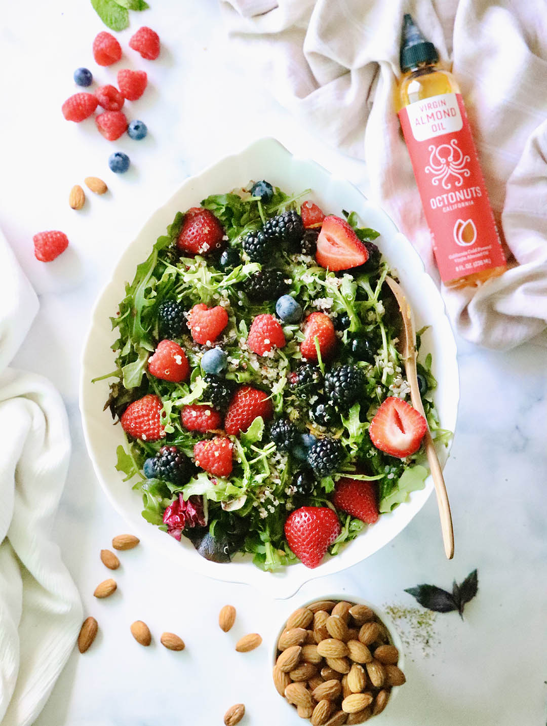 Berry Quinoa Salad with Octonuts California Almond Oil Dressing