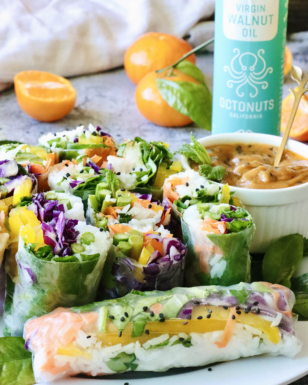 Rainbow Vegetable Spring Rolls with Spicy Dipping Sauce