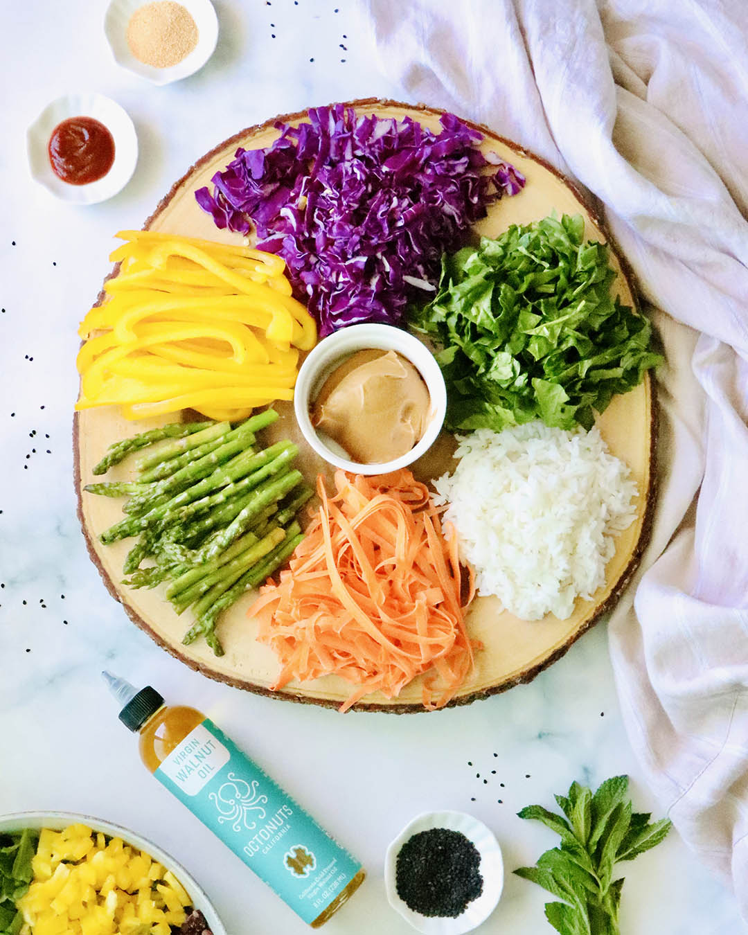 Rainbow Vegetable Spring Rolls with Octonuts Walnut Oil Dipping Sauce