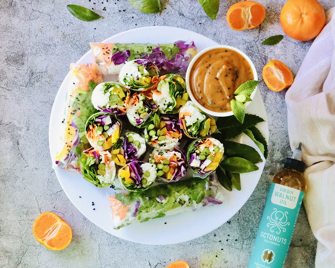 Rainbow Vegetable Spring Rolls with Spicy Walnut Oil Dipping Sauce