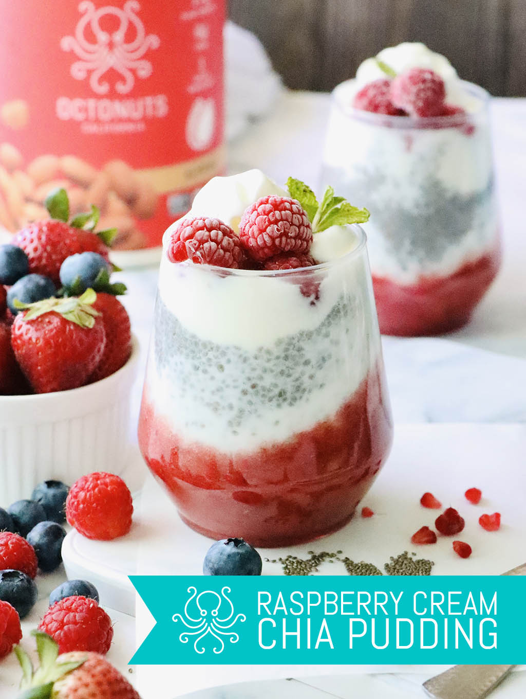 Raspberry Cream Chia Pudding with Octonuts Almond Protein Powder
