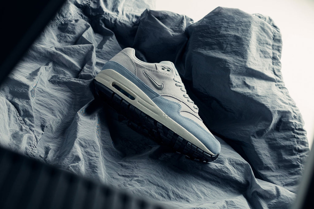 buy popular 29765 b5a1d White and Blue Nike Women s Air Max 1 Premium