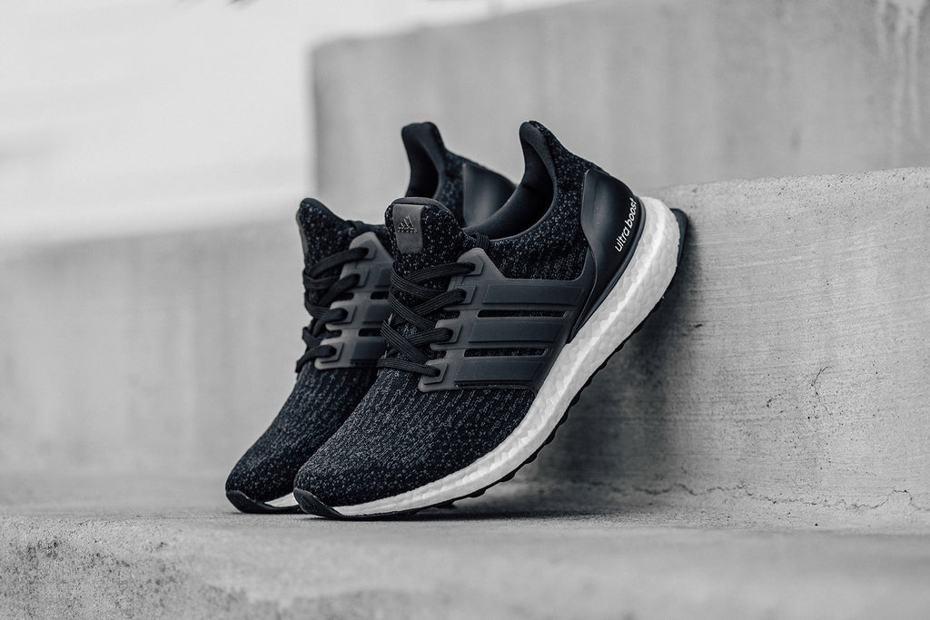 42bb244c2988c Adidas presents their women s Ultra Boost 3.0 ( 180) in a black and shale  color scheme. The prime knit upper showcases a predominately black color  with a ...