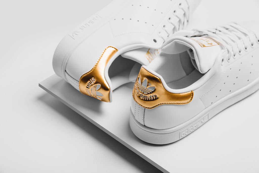 Adidas Originals Women s Stan Smith In Running White Metallic Gold  Available Now c6564b5233