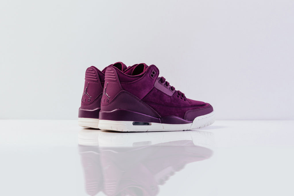 81832d9c522 Jordan Brand presents a special rendition of the Air Jordan 3 Retro for  women, dressed in a velvety Bordeaux for a luxurious aesthetic ($180).