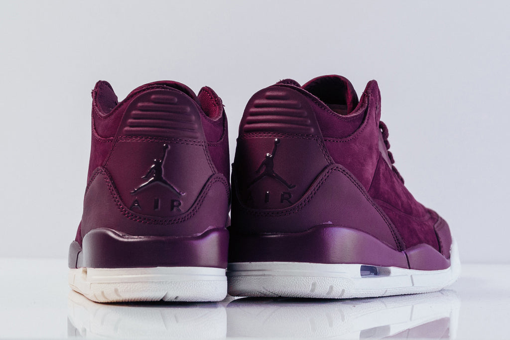 buy online b7cc8 58b10 Jordan Brand presents a special rendition of the Air Jordan 3 Retro for  women, dressed in a velvety Bordeaux for a luxurious aesthetic ( 180).
