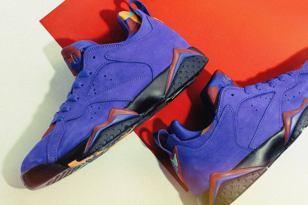 online retailer 44c6b a810b Jordan Brand presents a long waited rendition of the Air Jordan 7 Low NRG,  borrowing cues from historic color ways and adding a unique twist with its  low ...