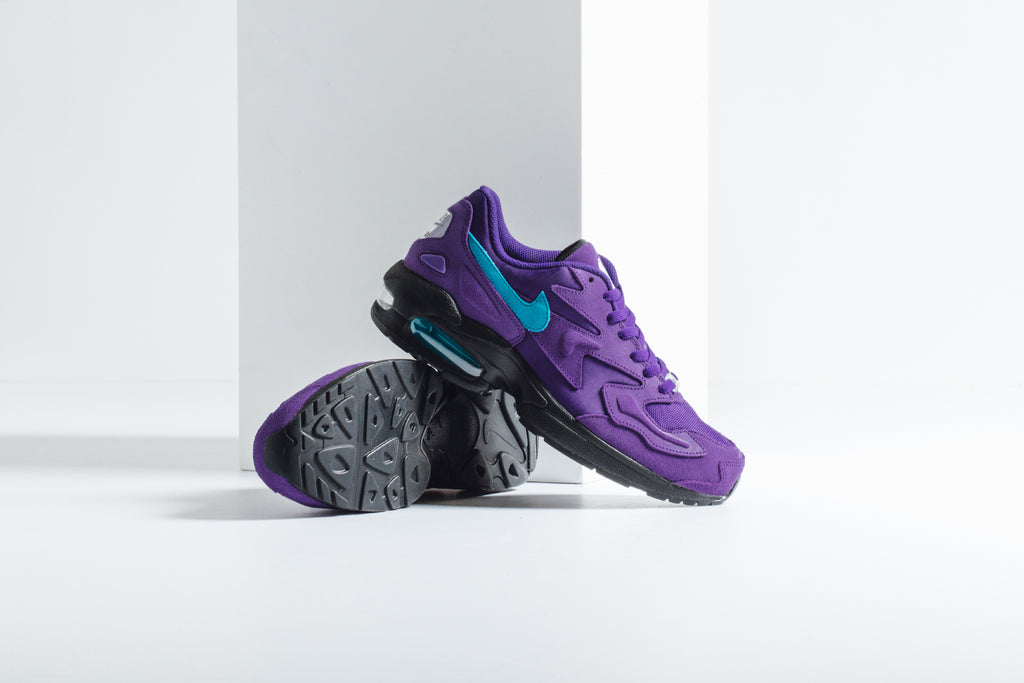 separation shoes 6549c 58b4d Following All-Star weekend in North Carolina, Nike presents a pair of the  throw back Air Max 2 in the Charlotte Hornet s signature purple and blue  color-way ...