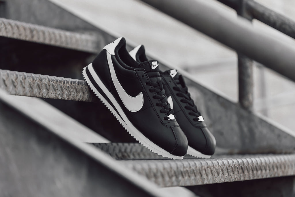 09957d7e3c2b52 Nike Cortez Leather In Black White Metallic Silver Available Now – Feature  Sneaker Boutique