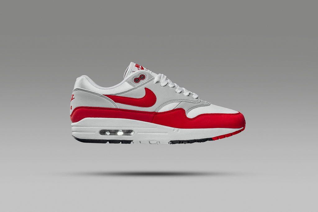 9808bbb8641d89 Nike OG Air Max 1 Anniversary  University Red  Coming Soon – Feature Sneaker  Boutique