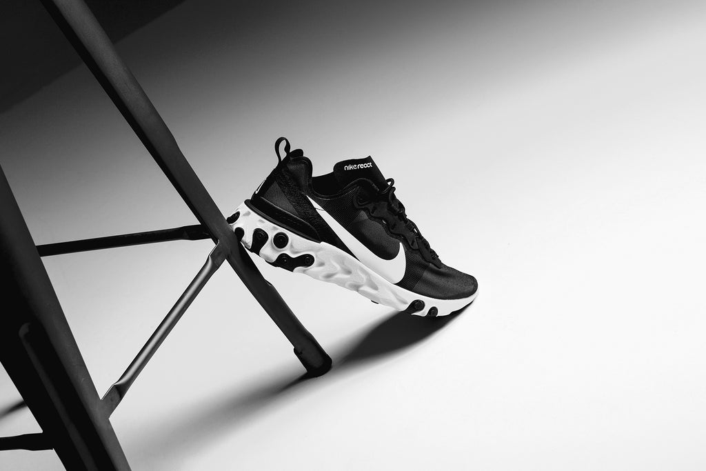 super popular 7ff95 042bc Nike presents a clean black and white rendition of the React Element 55  ( 130). The model features a solid upper rather than the translucent upper  seen on ...