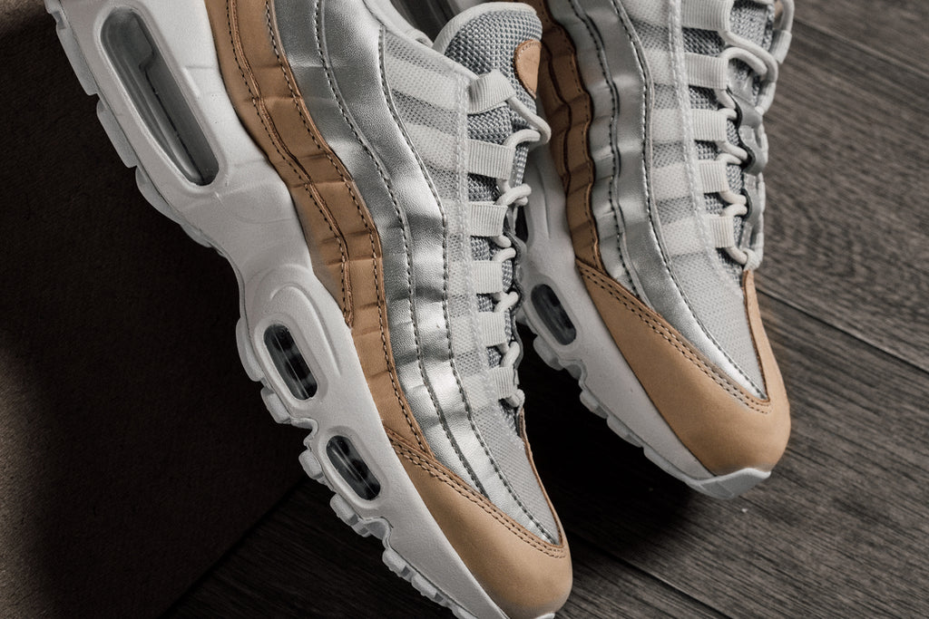 online retailer 1f54b cceb8 Nike presents a special iteration of the Air Max 95 SE exclusively for  women showcasing a pure platinum upper with hints of metallic silver to  give a shiny ...