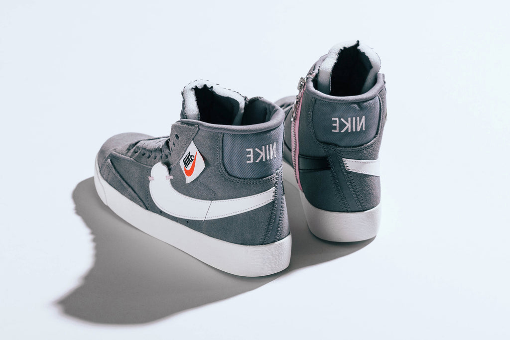 timeless design 447f7 fc8bc Nike showcases a cool grey iteration of the women s Blazer Mid Rebel, a  take on a historic model with a deconstructive aesthetic ( 100).