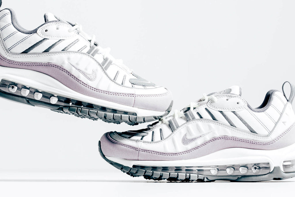 Nike Women S Air Max 98 Summit White Violet Ash Available Now