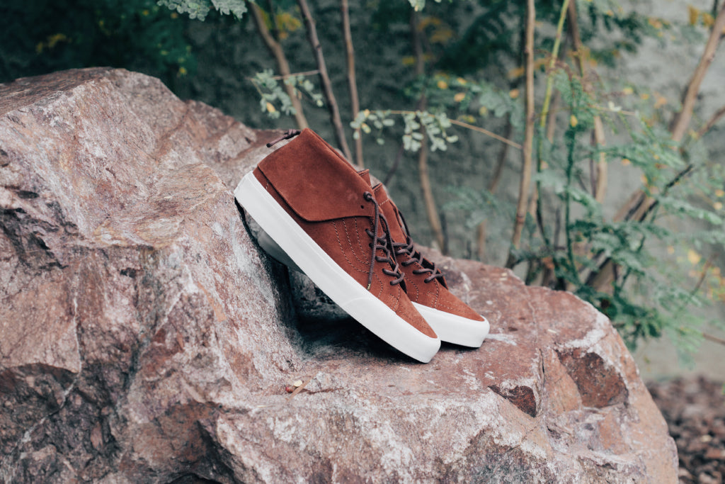 94853d15f760cb Vans CA introduces the Sk8-Mid silhouette ( 115) to this season s  collection with a new contemporary makeover. The mid-top features a  fold-over moc collar ...