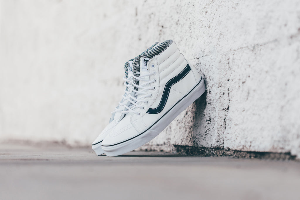 Vans Leather Sk8-Hi Reissue In White Stripes Available Now – Feature  Sneaker Boutique 579f10099