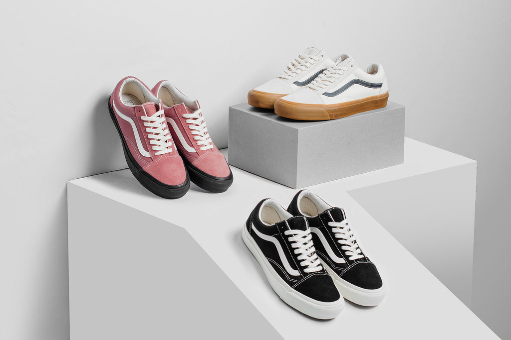 8895ee4e8f Vans Vault expands their Old Skool LX ( 70) collection with a trio of new  Suede Canvas renditions. Available in Ash Rose