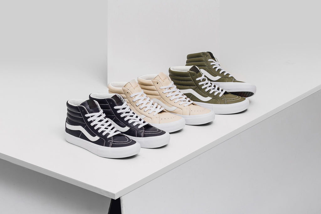 Vans Vault is back this season with a trio of new Sk8-Hi s ( 125). The  latest offering features premium Italian Leather constructions along with  perforated ... c85d2b3911