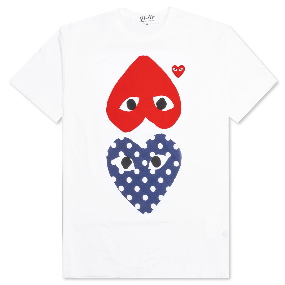 Comme des Garcons PLAY Polka Dot Mirror T-Shirt - White