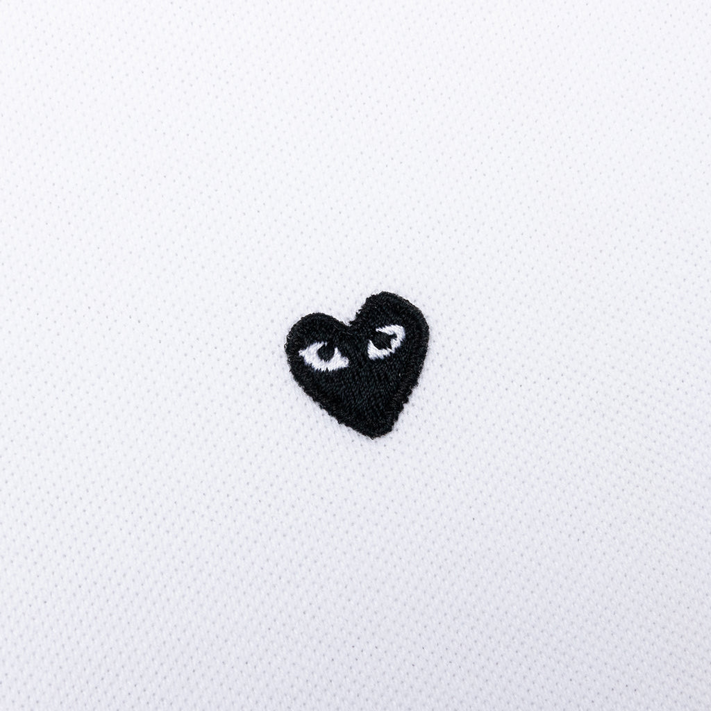 Comme des Garcons PLAY Women's Small Black Heart Polo Shirt - White