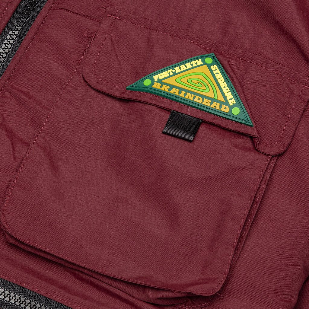 Brain Dead Post Earth Syndrome Fishing Fleece - Burgundy
