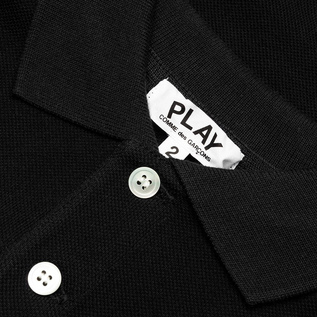 Comme des Garcons PLAY Black Emblem Kid's Polo Shirt - Black