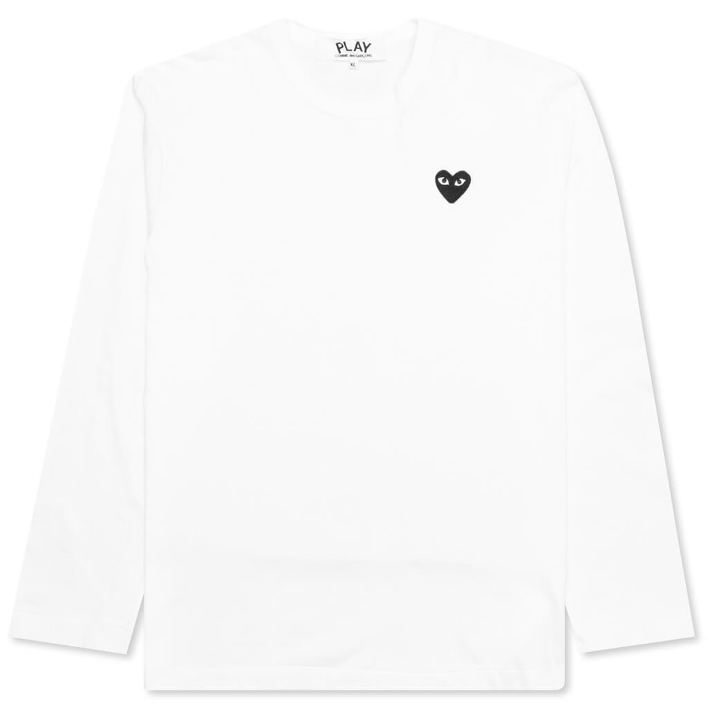Comme des Garcons PLAY Black Emblem Long Sleeve T-Shirt - White