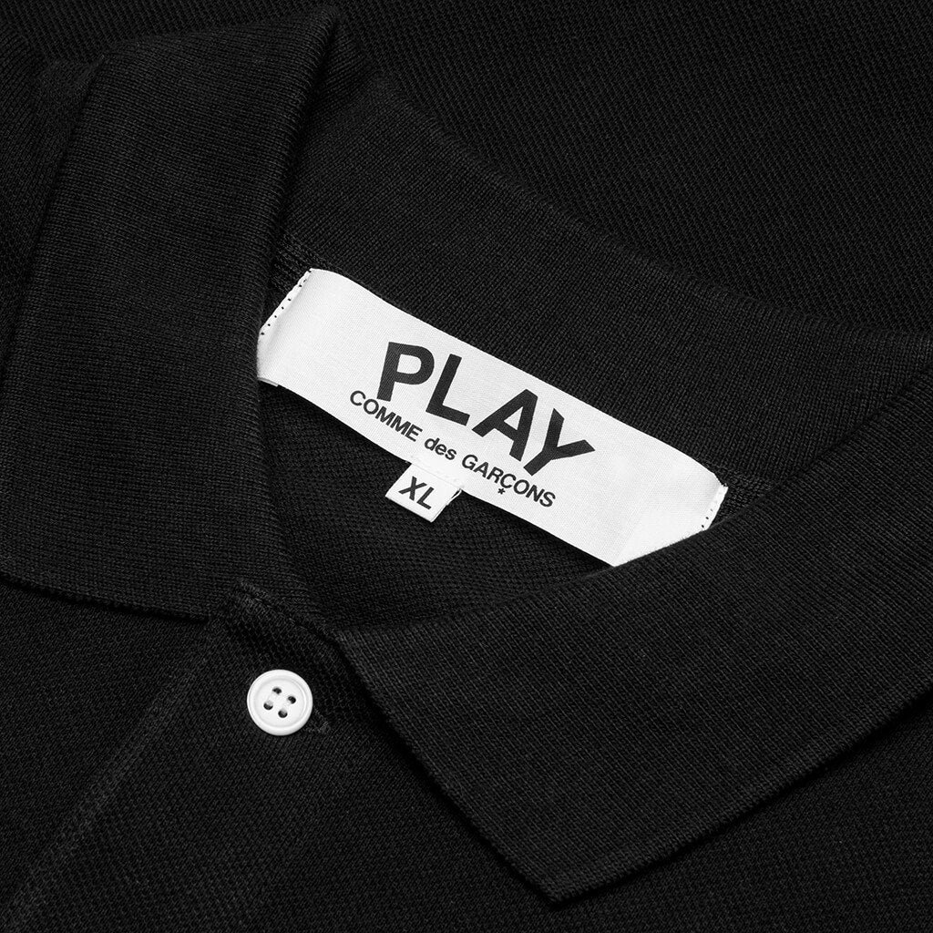 Comme des Garcons PLAY Black Emblem Polo Shirt - Black