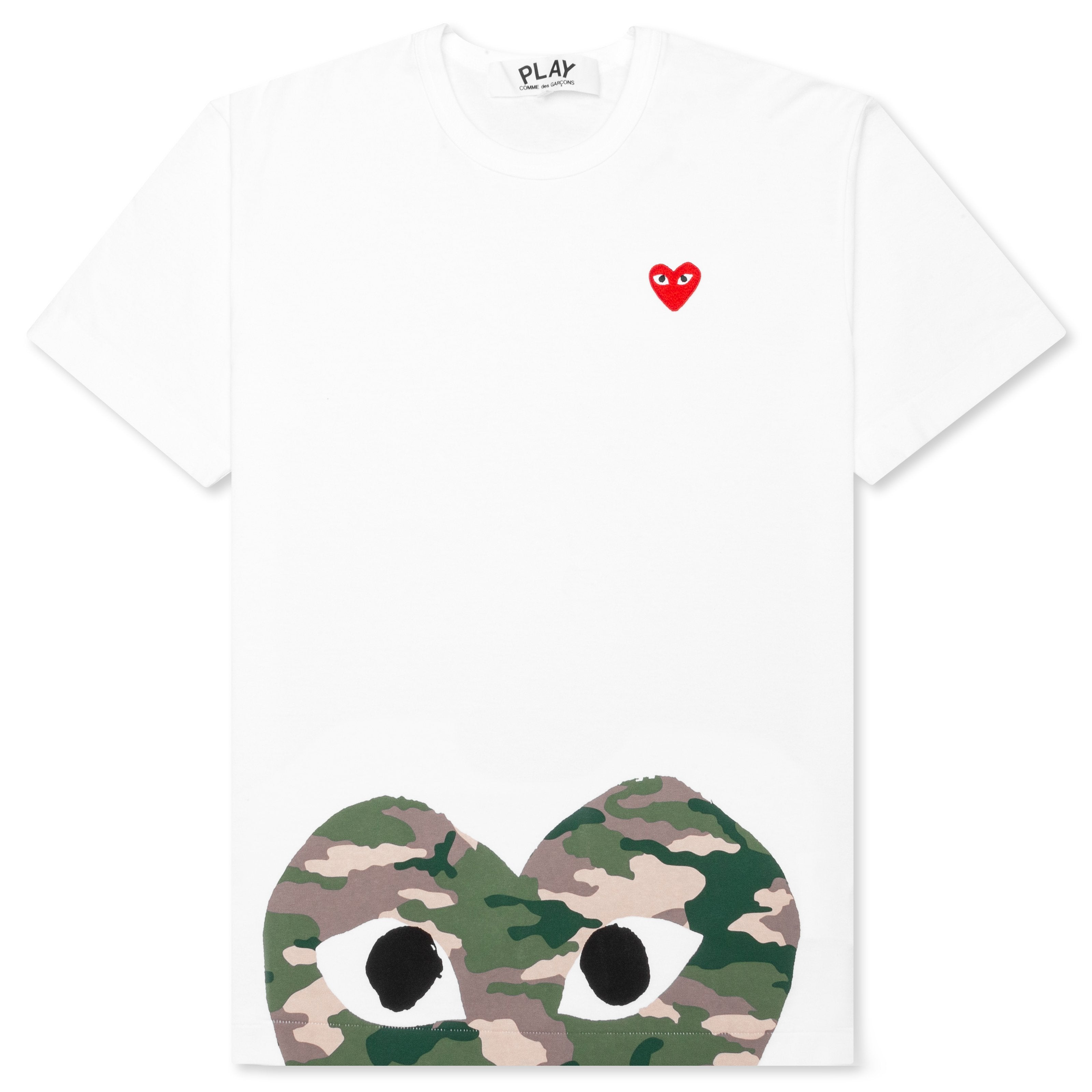 Comme des Garcons PLAY Camouflage Edge Heart T-Shirt - White