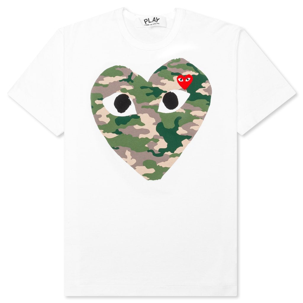 Comme des Garcons PLAY Camouflage Heart T-Shirt - White