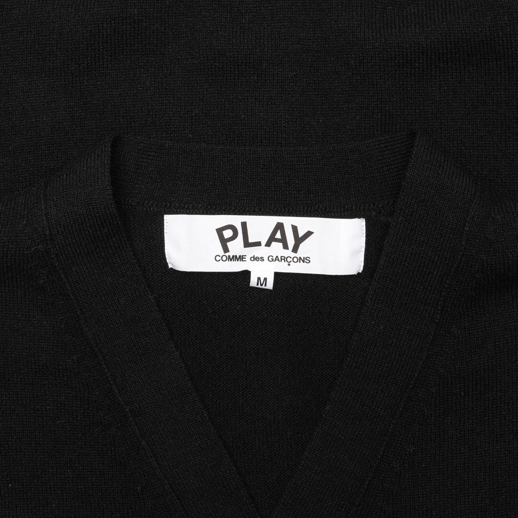 Comme des Garcons PLAY Double Heart Cardigan - Black