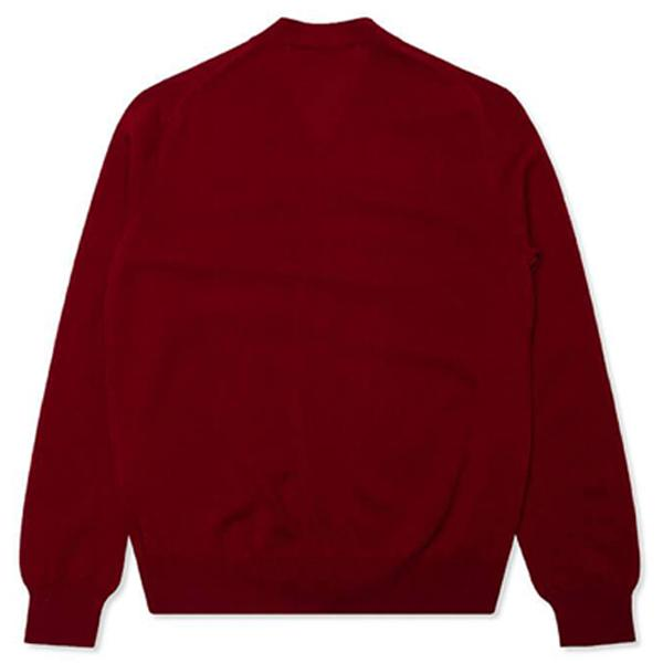 Comme des Garcons PLAY Double Heart Cardigan - Burgundy