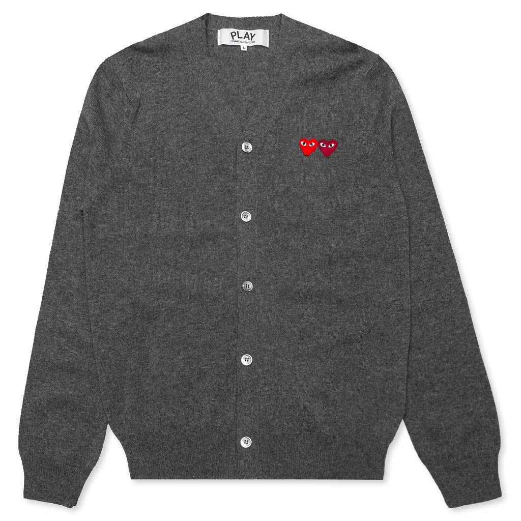 Comme des Garcons PLAY Double Heart Cardigan - Grey
