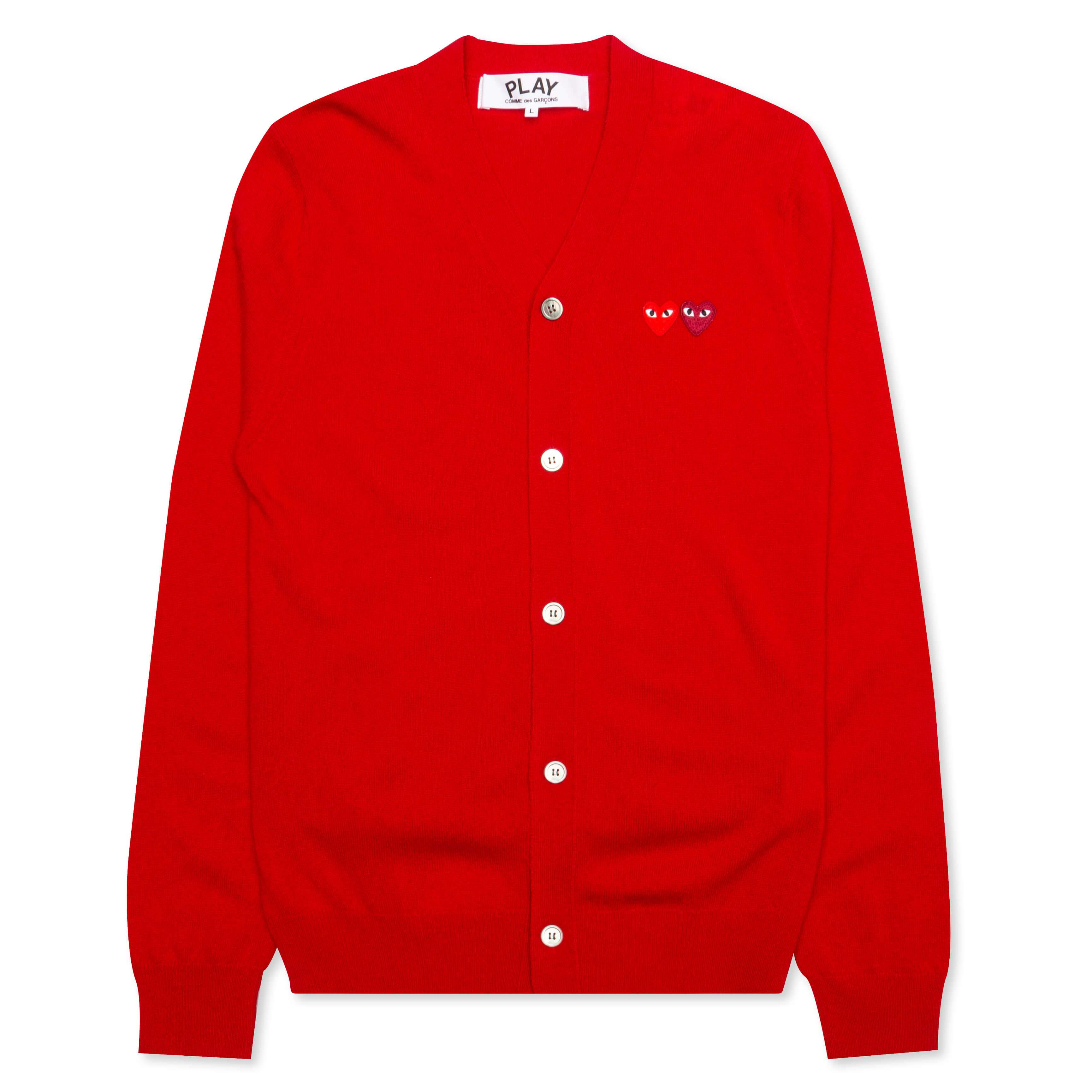Comme des Garcons PLAY Double Heart Cardigan Red – Feature
