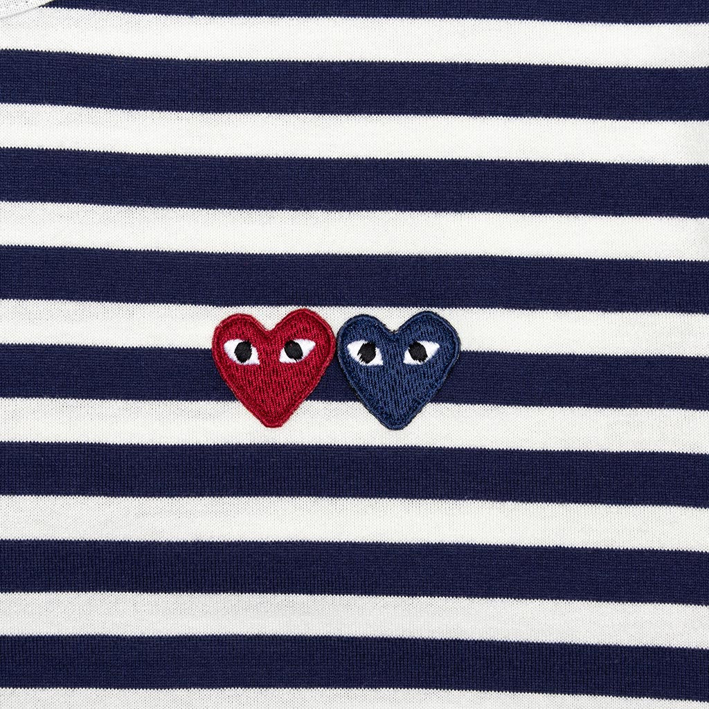 Comme des Garcons PLAY Double Heart Striped Shirt - White/Navy