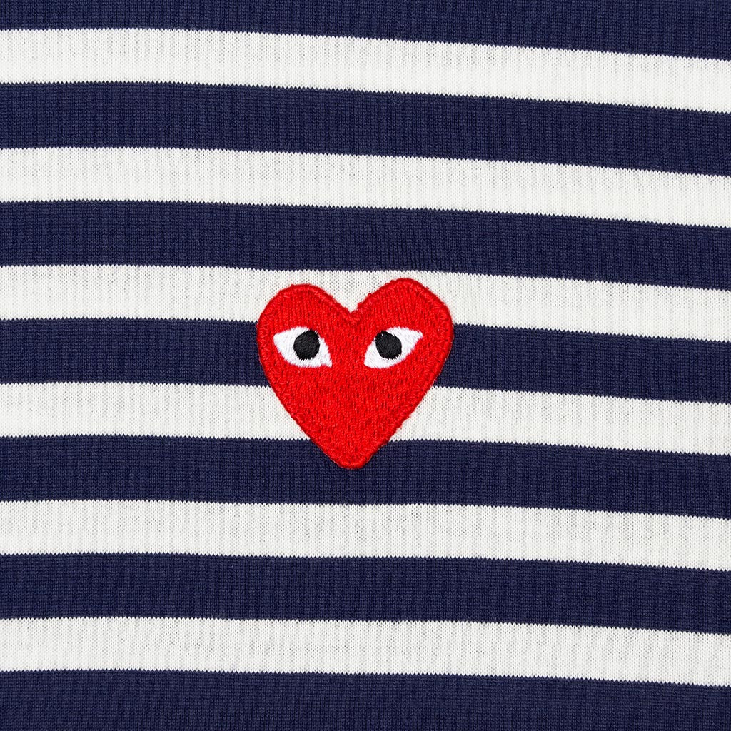 Comme des Garcons PLAY Emblem Striped Long Sleeve T-Shirt - Navy/White