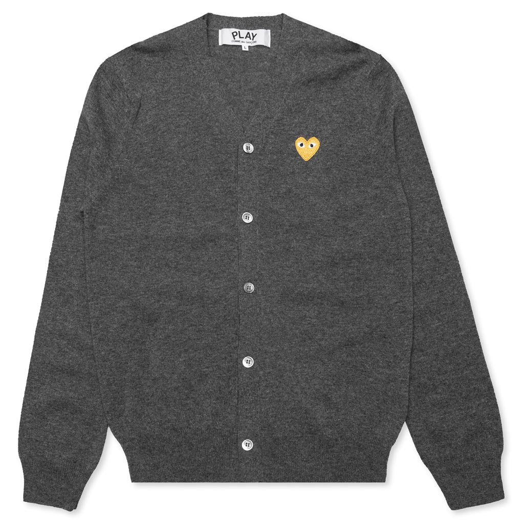 Comme des Garcons PLAY Gold Heart Cardigan - Grey