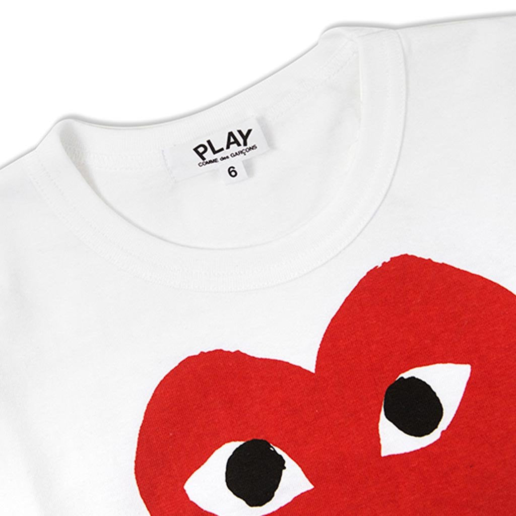 Comme des Garcons PLAY Kids Heart T-Shirt - White/Red