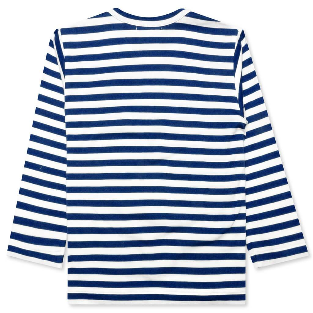 Comme des Garcons PLAY Kid's Striped Long Sleeve T-Shirt - Blue/White