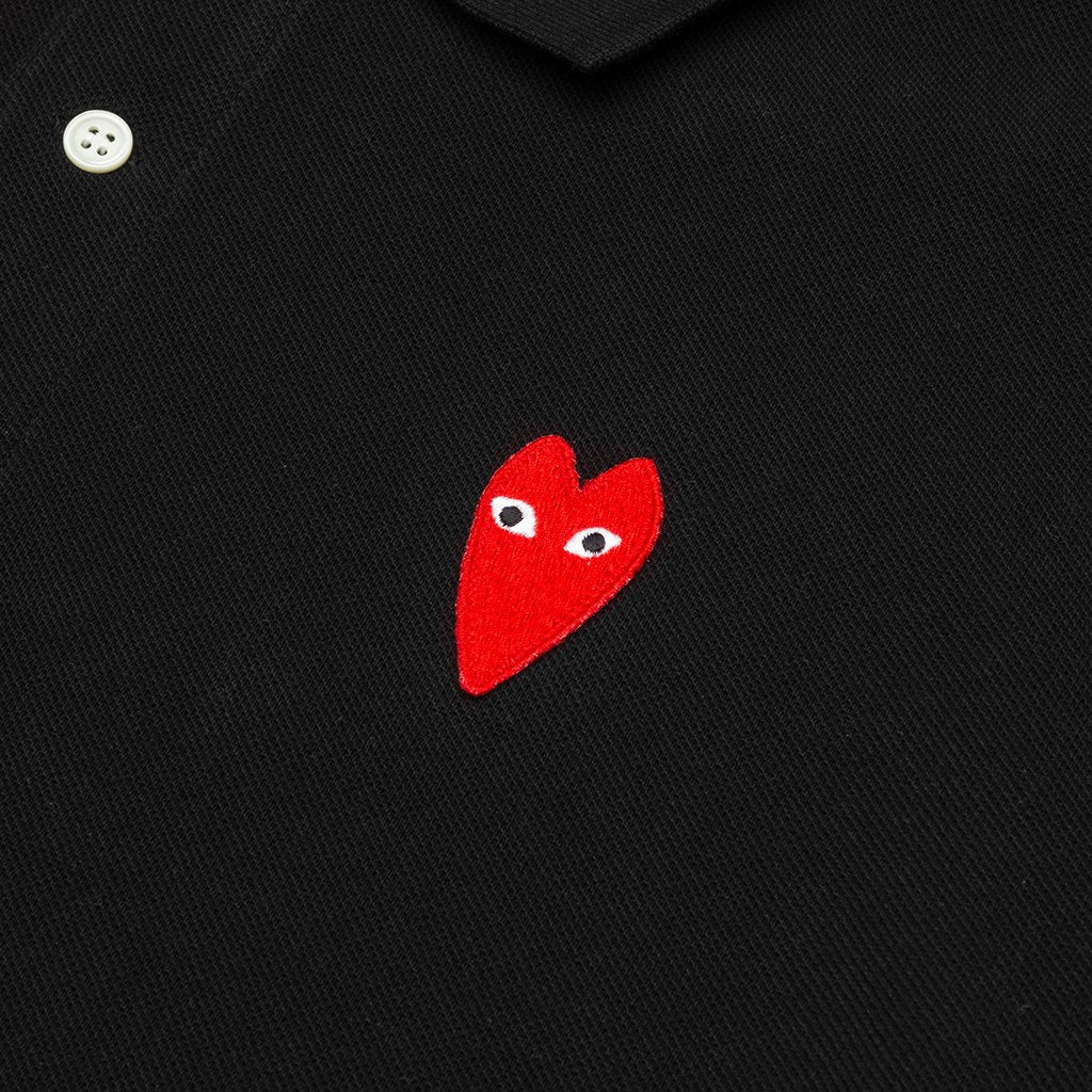 Comme des Garcons PLAY Long Heart Polo - Black