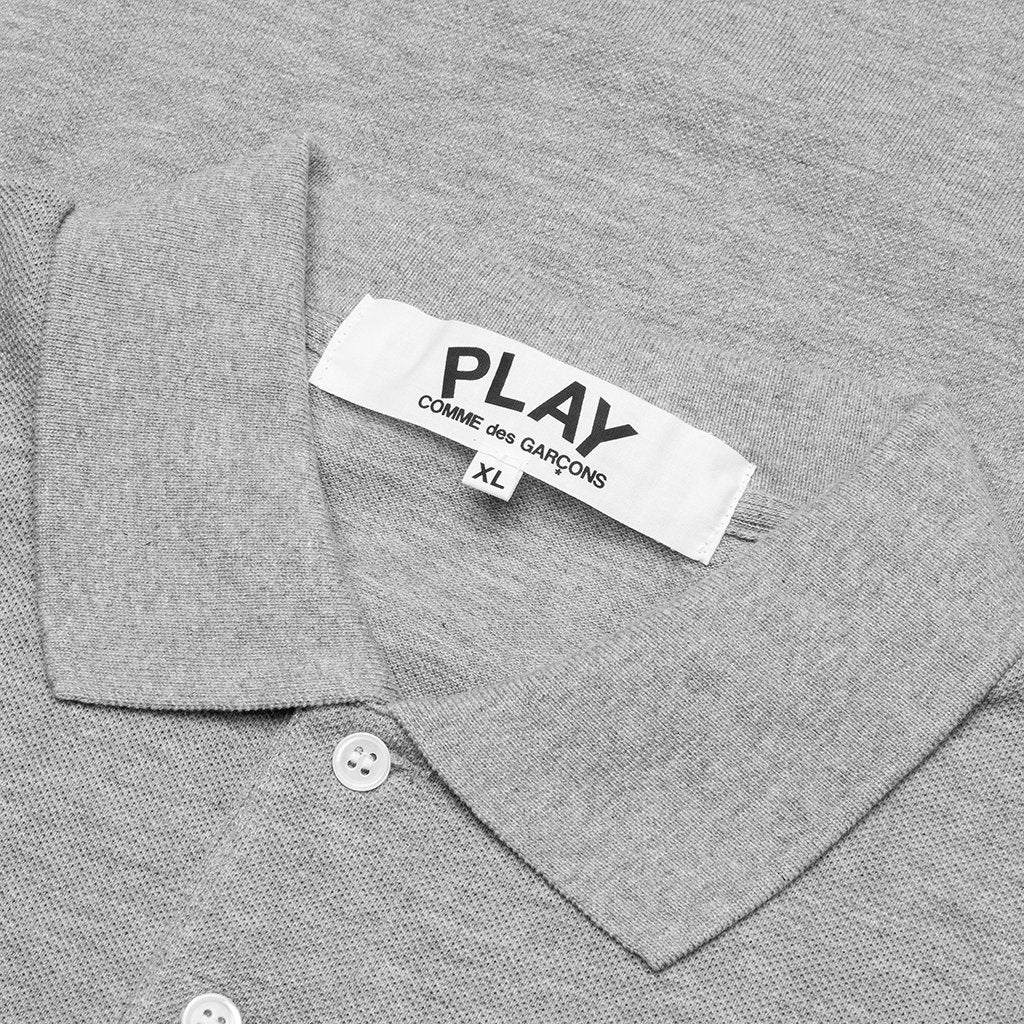 Comme des Garcons PLAY Long Heart Polo - Grey