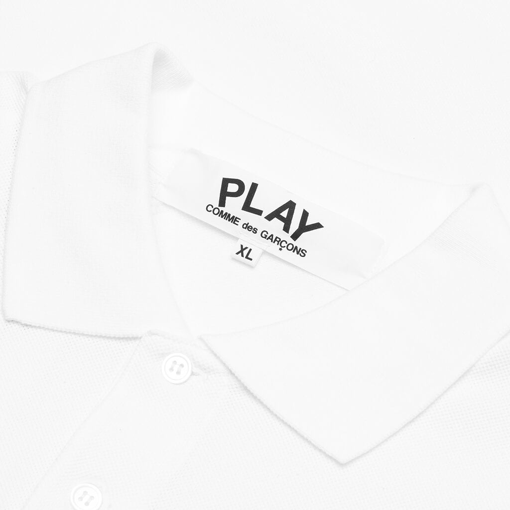 Comme des Garcons PLAY Long Heart Polo - White