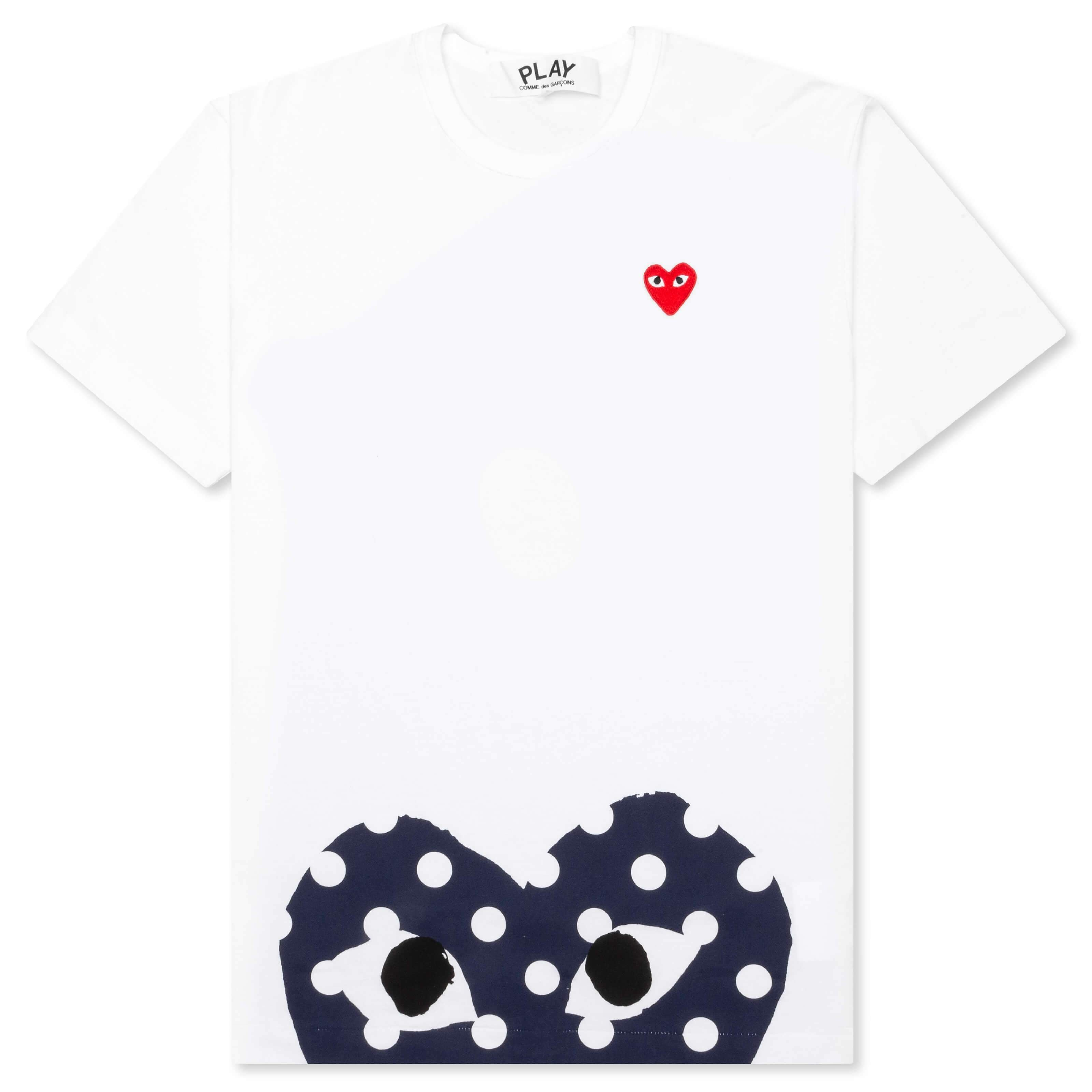 Comme des Garcons PLAY Polka Dot Half Heart T-Shirt - White