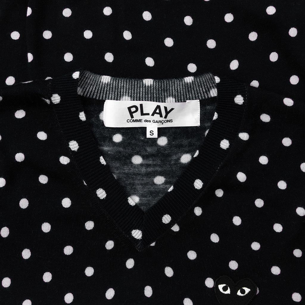Comme des Garcons PLAY Polka Dot Sweater - Black