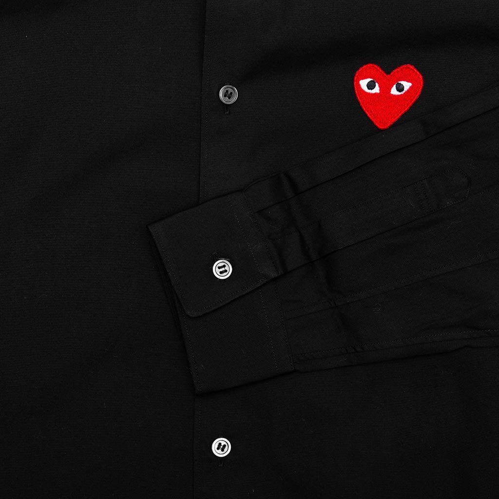 Comme des Garcons PLAY Red Emblem Button Down - Black